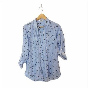 Express Seersucker Birds Print Button Down Shirt